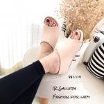 รองเท้าลำลองหนังนิ่มแบบสวม (สีครีม)