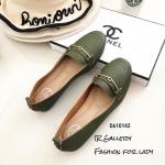 รองเท้าคัทชูหนังทรงสวมแต่งอะไหล่ (สีเขียว)