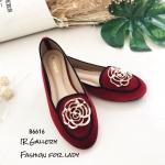 รองเท้าคัทชูแต่งอะไหล่กุหลาบทอง (สีแดง)
