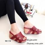 รองเท้าส้นเตารีดแต่งสายคาด (สีแดง)