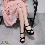 รองเท้าส้นตึกสายไขว้สไตล์แฟชั่นเกาหลี (สีดำ)