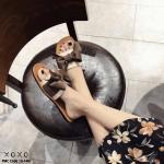 รองเท้าแตะแฟชั่นแต่งโบว์ผูก (สีครีม)