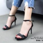 รองเท้าส้นสูงหนังเงารัดข้อ (สีดำ)