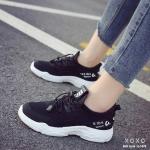 รองเท้าผ้าใบเสริมส้นทรงSportฉลุรู (สีดำ)