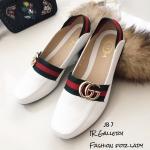 รองเท้าคัทชูส้นแบน Style Gucci (สีขาว)