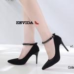 รองเท้าคัทชูส้นสูงรัดข้อ (สีดำ)