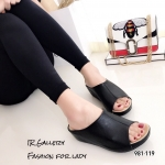 รองเท้าลำลองหนังนิ่มแบบสวม (สีดำ)