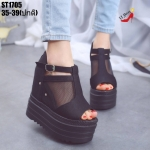 รองเท้าส้นเตารีดซีทรูสไตล์แฟชั่นเกาหลี (สีดำ)