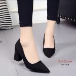 รองเท้าคัทชูส้นตันสักหลาด (สีดำ)