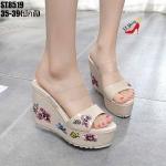 รองเท้าส้นเตารีดคาดใสแต่งลายดอกไม้ (สีครีม)