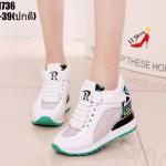 รองเท้าผ้าใบเมจิกเทปแต่งลายแฟชั่น (สีขาว)