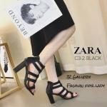 รองเท้าส้นตันหน้าสาน Style Zara (สีดำ)
