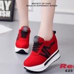 รองเท้าผ้าใบเสริมส้นสไตล์แฟชั่นเกาหลีแต่งลาย Sport (สีแดง)
