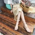 รองเท้าแตะพันขาสไตล์ Gladiator (สีครีม)