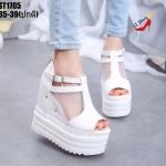 รองเท้าส้นเตารีดซีทรูสไตล์แฟชั่นเกาหลี (สีขาว)