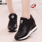 รองเท้าผ้าใบแฟชั่นเสริมส้นทูโทน (สีดำ)