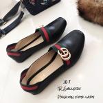 รองเท้าคัทชูส้นแบน Style Gucci (สีดำ)