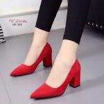 รองเท้าคัทชูส้นตันสักหลาด (สีแดง)