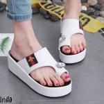 รองเท้าแตะส้นเตารีดแต่งเพชร (สีขาว)