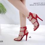 รองเท้าส้นสูงแต่งสายรัด Style Valentino (สีแดง)