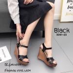 รองเท้าส้นเตารีดสายไขว้นิ่ม (สีดำ)