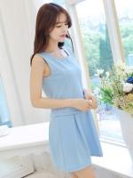 ชุดเซ็ทเสื้อกระโปรงสั้นสีฟ้า เสื้อแขนกุด คอกลม สวยๆ น่ารัก