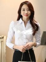 เสื้อเชิ้ตทำงานผู้หญิงสีขาว แขนยาว ปกเสื้อประดับเลื่อม ไหล่แต่งระบาย แนวน่ารัก 5-0093-ขาว