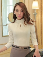 เสื้อทำงานผู้หญิงสีขาว แขนยาว รหัสสินค้า 13-8038-ขาว