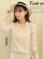 เสื้อทำงานสีชมพู แขนยาว คอวี ใส่กับกระโปรง หรือ กางเกง ก็สวยเก๋ ดูดี