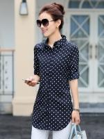 เสื้อเชิ้ตทำงานผู้หญิงวันสบายๆสีน้ำเงิน ลายจุดสีขาว แขนยาว คอปก กระดุมหน้า 5-0089-น้ำเงิน