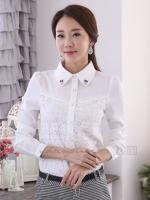 เสื้อเชิ้ตทำงานผู้หญิงสีขาว แขนยาว แต่งผ้าลูกไม้ ปกเสื้อปักเลื่อม กระดุมหน้า สวยน่ารัก 5-0100-ขาว
