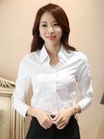เสื้อเชิ้ตทำงานผู้หญิงสีขาว แขนยาว คอปก กระดุม ทรงเข้ารูป แนวเรียบร้อย 5-0095-ขาว