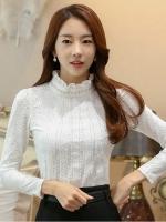 เสื้อทำงานผู้หญิงสีขาว แขนยาว รหัสสินค้า 13-T6172-ขาว