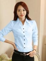 เสื้อเชิ้ตทำงานผู้หญิงสีฟ้า แขนยาว มีลายที่ปกใน กระดุมหน้า ทรงเข้ารูป 5-0091-ฟ้า