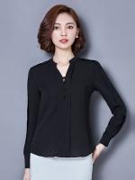 เสื้อทำงานผู้หญิงสีดำ แขนยาว คอวี รหัสสินค้า 13-T6123-ดำ