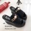รองเท้าส้นเตารีดหนังนิ่มแต่งอะไหล่ (สีดำ) thumbnail 3