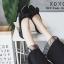 รองเท้าคัทชูส้นแบนกำมะหยี่โบว์มัด (สีดำ) thumbnail 2