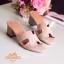 รองเท้าแตะสวมเสริมส้น Style Hermes (สีครีม) thumbnail 3