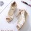 รองเท้าคัทชูลูกไม้ส้นเตารีด (สีครีม) thumbnail 2