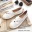รองเท้าทรงสวมปักหน้าแมว (สีขาวผ้ากระสอบ) thumbnail 1