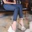 รองเท้าส้นเตารีดสวมแต่งหมุด (สีชมพู) thumbnail 7