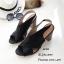 รองเท้าส้นตันสายไขว้สไตล์ลำลอง (สีดำ) thumbnail 1