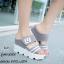 รองเท้าส้นเตารีดหน้ายิ้มแต่งเมจิกเทป (สีเทา) thumbnail 2
