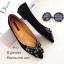 รองเท้าคัทชูแต่งอะไหล่เพชรผีเสื้อ (สีดำ) thumbnail 2
