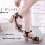 รองเท้าส้นตันหน้าสานสไตล์ลำลอง (สีกากี) thumbnail 7