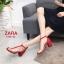 รองเท้าส้นตัน Style Zara T-Strap (สีแดง) thumbnail 1