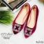รองเท้าคัทชูส้นแบนสไตล์MN (สีแดงเลือดหมู) thumbnail 2