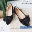 รองเท้าคัทชูส้นแบนกำมะหยี่โบว์มัด (สีดำ) thumbnail 1