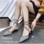รองเท้าเปิดส้นแต่งอะไหล่เพชร (สีครีม) thumbnail 10