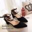รองเท้าคัทชูส้นเตี้ยสายรัด2ชั้น (สีดำ) thumbnail 3